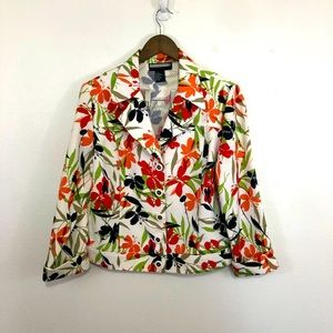 Requirements floral summer jacket white buttons 14